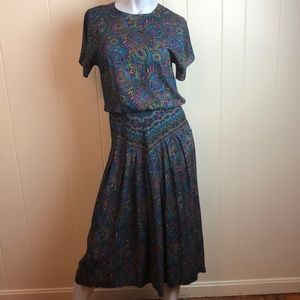 Vintage 80s/90s Green Multi Paisley Dress